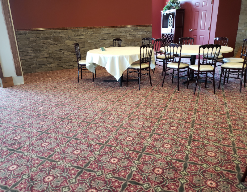 commercial broadloom carpet with pattern in buck hotel