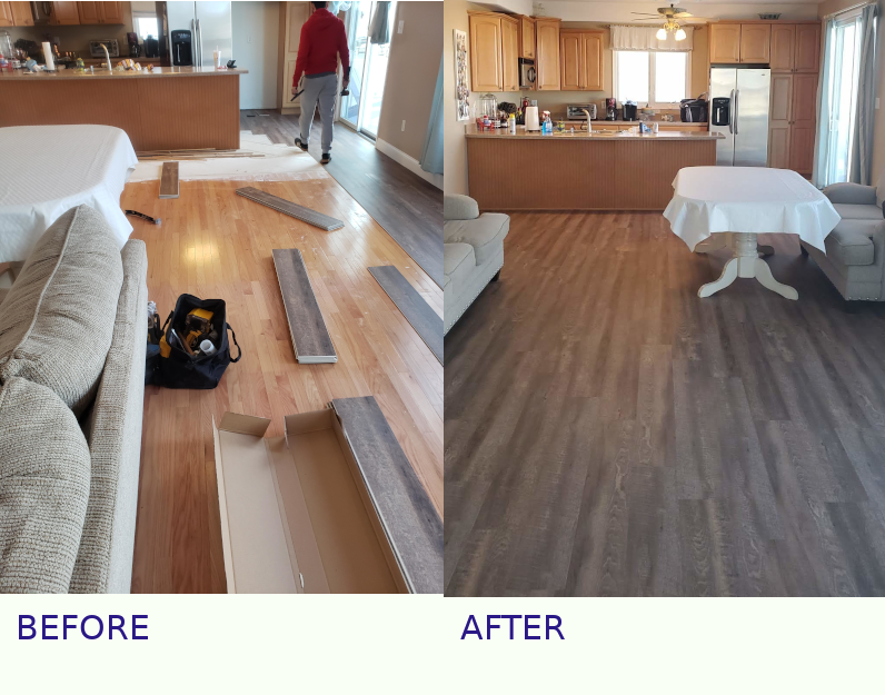vinyl planks over hardwood